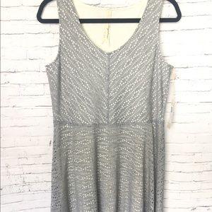 Mystree Grey Gray Eyelet Midi Dress Sleeveless L